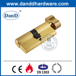 Satin Brass Keyless Bathroom Door Lock Thumbturn Cylinder-DDLC007